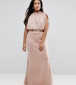 Read more about Asos curve slinky high neck metallic belt maxi dress - nude
