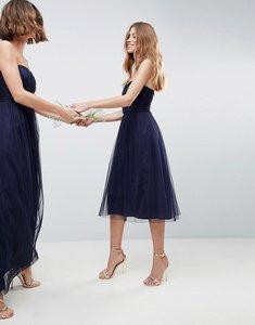 Read more about Asos design bridesmaid bandeau tulle midi dress - navy