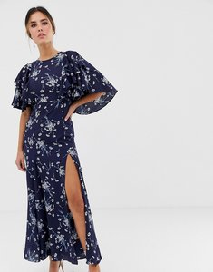 Read more about Liquorish midi dress with flutter sleeve in navy floral print
