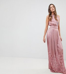 Read more about Little mistress tall ruffle high neck maxi dress with lace pleated skirt - rose
