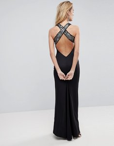 Read more about Asos sequin bodice strappy back fishtail maxi dress - silver black