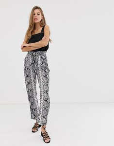 Read more about Parisian wide leg trousers with tie belt in snake print