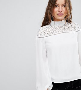 Read more about Fashion union petite high neck blouse with lace panel - cream