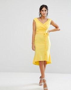 Read more about City goddess wrap front peplum midi dress - lemon
