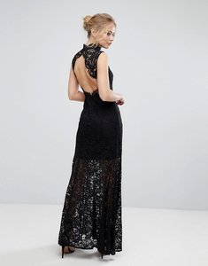 Read more about Aijek lace high neck maxi dress with open back and front slit - black