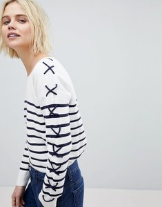 Read more about Suncoo breton stripe jumper with lacing - blanc casse