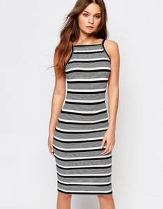 Read more about New look stripe rib high neck midi dress - black pattern