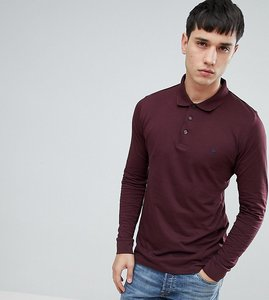 Read more about French connection tall long sleeve polo shirt - red