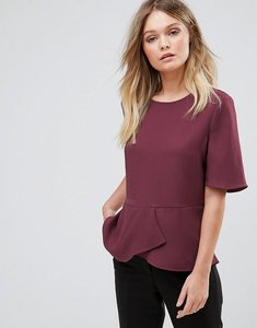 Read more about Selected short sleeve frill top - mauve wine