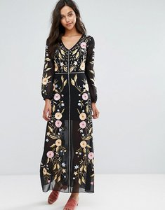 Read more about Miss selfridge embroidered maxi dress - black