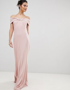 Read more about City goddess bardot maxi dress with metal detail - pale pink