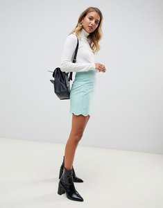 Read more about Asos design tailored a-line mini skirt with scallop hem - soft blue
