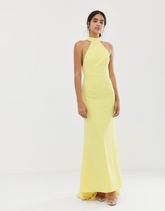 Read more about Jarlo high neck trophy maxi dress with open back detail in lemon