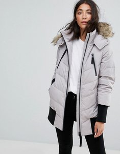 Read more about Esprit down ribbed cuff padded coat - light grey