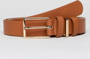 Read more about Asos smart slim belt in tan faux leather with triple keeper - tan