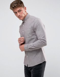 Read more about Asos casual stretch slim oxford shirt in burgundy - burgundy