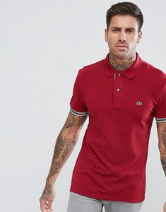 Read more about Lacoste tipped logo polo in burgundy - ypw