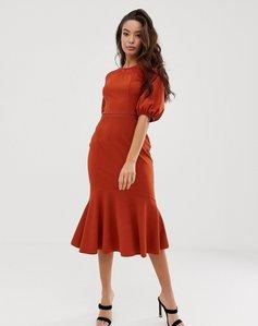 Read more about Asos design lace mix midi pencil dress with pep hem