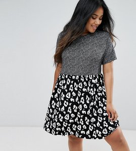 Read more about Asos curve smock dress in contrast animal print - mono leopard