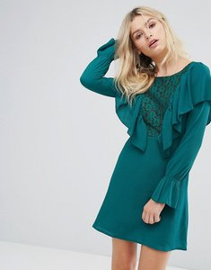 Read more about Rage lace insert dress with ruffle - green crepe w lace