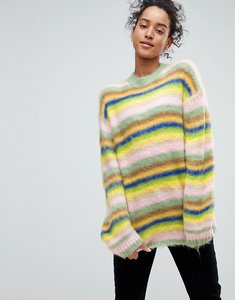 Read more about Asos oversized jumper fluffy rainbow stripe - multi