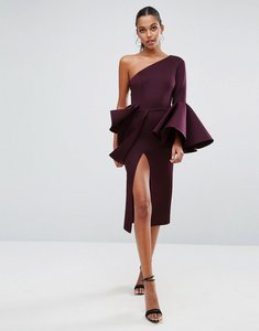 Read more about Asos premium one shoulder sleeve drama peplum midi dress - oxblood