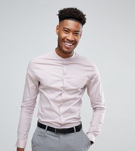 Read more about Asos tall skinny shirt in dusty pink with grandad collar - dusty pink