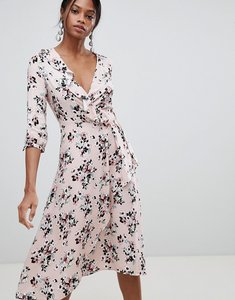 Read more about Liquorish floral print wrap midi dress - pink