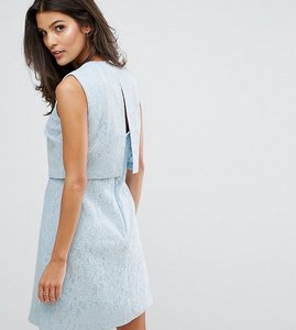 Read more about Warehouse open back bonded lace dress - light blue