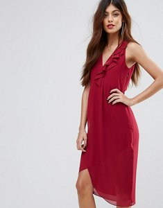Read more about Sisley frill midi dress - berry