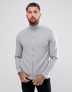 Read more about Asos design jersey ribbed track jacket in grey - grey mel