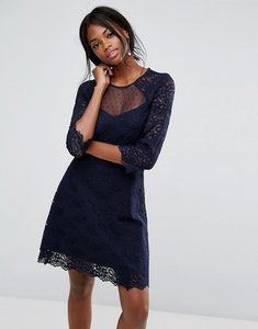 Read more about Oasis lace sleeve skater dress - navy