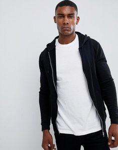 Read more about Asos design zip up hoodie in black - black
