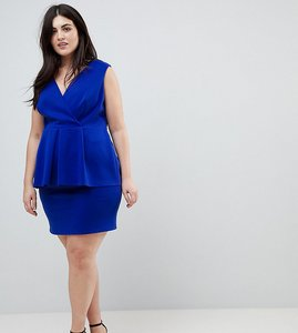 Read more about Asos curve scuba deep plunge peplum mini dress - cobalt