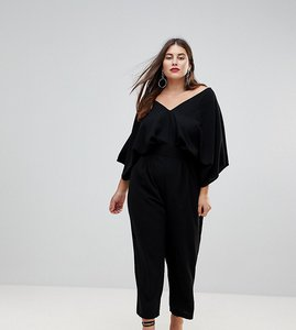 Read more about Asos design curve jumpsuit with kimono sleeve and peg leg - black