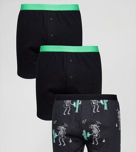 Read more about Asos jersey boxers with skeleton design 3 pack save - black