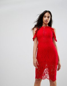 Read more about Naanaa lace bodycon midi dress with cold shoulder and cut out detail - red