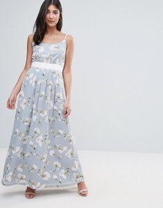 Read more about Uttam boutique maxi dress in floral print with contrast band - green