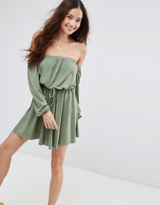 Read more about Asos bardot long sleeve skater dress - khaki