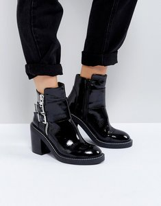 Read more about Asos elaby leather patent heeled ankle boots - black
