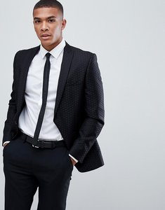 Read more about Burton menswear jacquard blazer in black - black