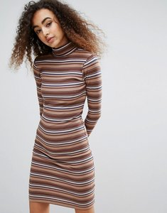 Read more about Brave soul sabrina roll neck dress in stripe rib - camel combo