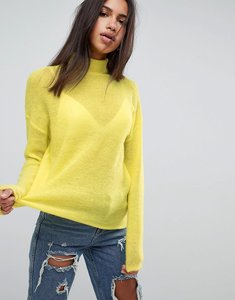 Read more about Asos jumper with high neck in mohair blend - yellow