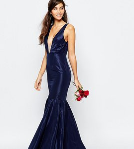 Read more about Fame and partners modern dream fishtail maxi dress - navy
