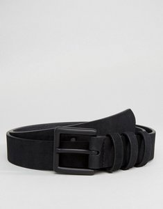 Read more about Asos smart faux suede slim belt in black with triple keeper - black
