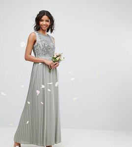 Read more about Maya pleated maxi dress with embellished bodice - sage