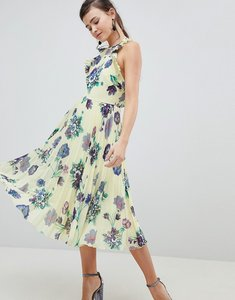 Read more about Asos design floral pleated midi dress with ruffle open back - multi