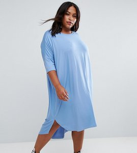 Read more about Asos curve oversize t-shirt dress with curved hem - blue