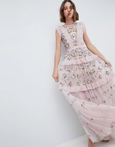 Read more about Needle thread high neck layered maxi dress with embellishment - lilac
