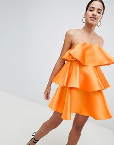 Read more about Asos design structured satin twill tiered ruffle bandeau mini dress - orange